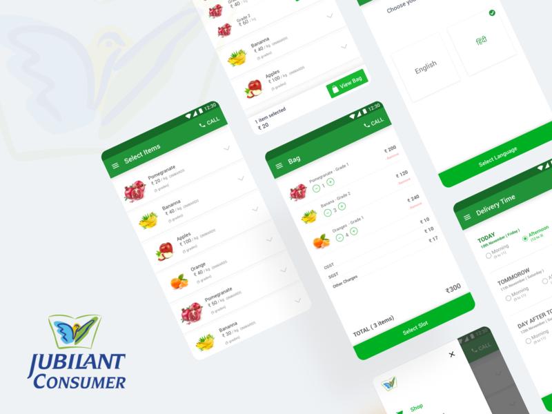Jubilant Consumer App (Fresh Finds) - Case Study case study wholesale website web ux ui online minimal prateek app ui android app