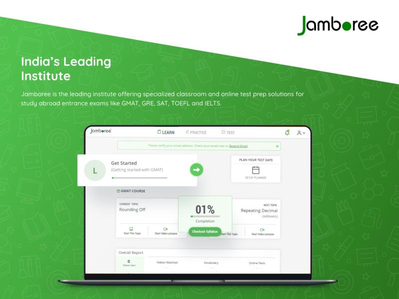 Jamboree GMAT - Case Study website web ux ui squareboat prateek online minimal learning landing page illustration header development design course coding class case study app android