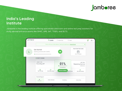 Jamboree GMAT - Case Study website web ux ui squareboat prateek online minimal learning landing page illustration header development design course coding class case study app android