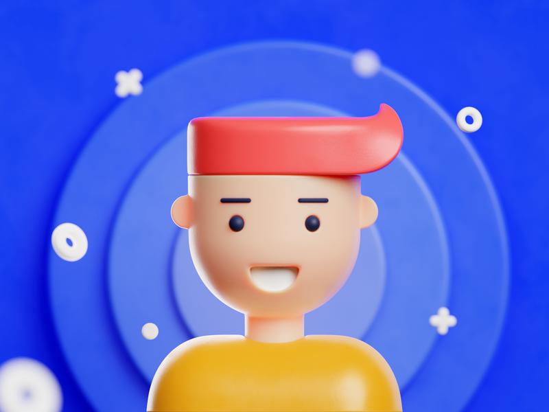 3D avatar debut invite human flat design creative character prateek blender blender3d colorful model clay render avatar 3d