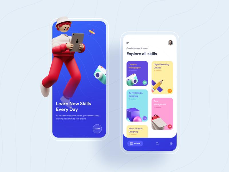 Learn new skills invite colors online minimal iphone appui clean prateek model 3d educational learning app learning ux ui education skills learn