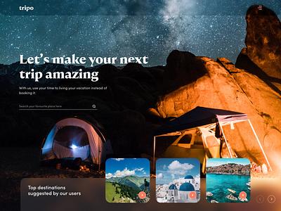 Explore Travel Destinations prateek websites online booking mountain trip night travelling travel landing page clean web app header website minimal design ux ui