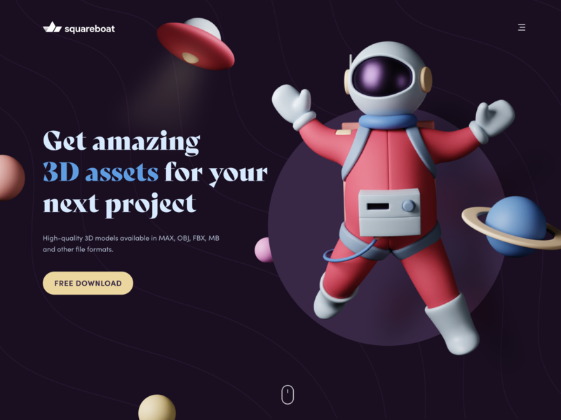 Get 3D Assets colors cinema4d hero banner blender3d blender clayrender modelling clay model 3d landing page web app header website minimal design ux ui