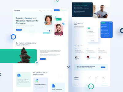 Health Consultation Landingpage I  •  Squareboat chat hospital webui doctor online healthcare health illustration landing page header website minimal design ux ui