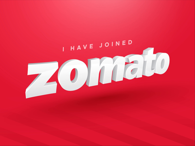Joined Zomato order online shop food red debut animation hiring new post job zomato design typography vector branding logo illustration