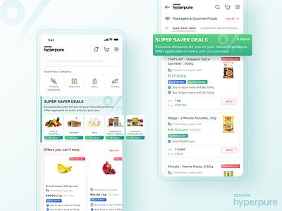 Super Saver Deals | Hyperpure order delivery online discount offer zomato hyperpure illustration app design ux ui