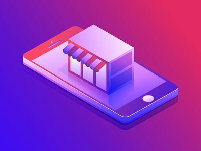 5/20 shot iphone colors 3d 2.5d store shop mobile isometric