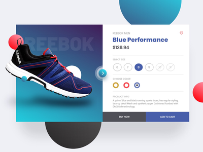 Shoe Card Experiment navigation landing page website ux ui card dailyui flat minimal reebok shoe web