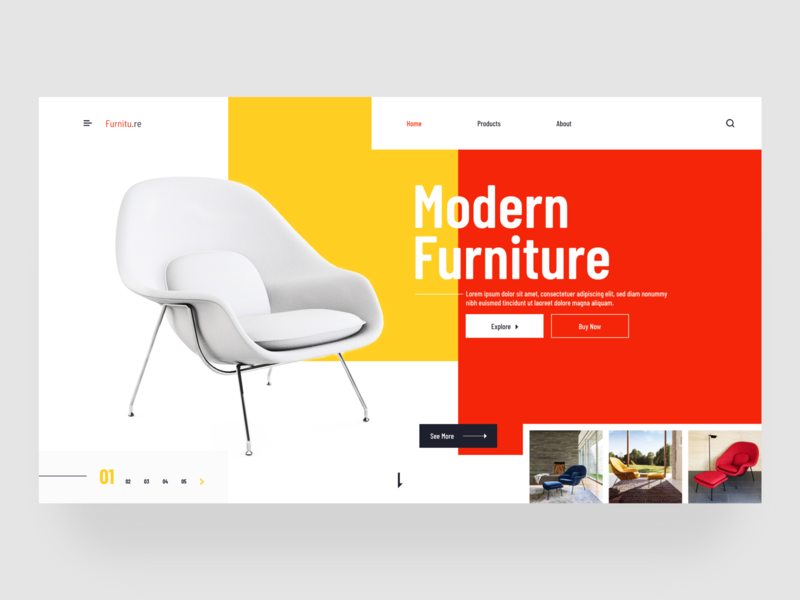 Furniture - Landingpage website web ux colorful landing page header ui typography furniture minimal clean