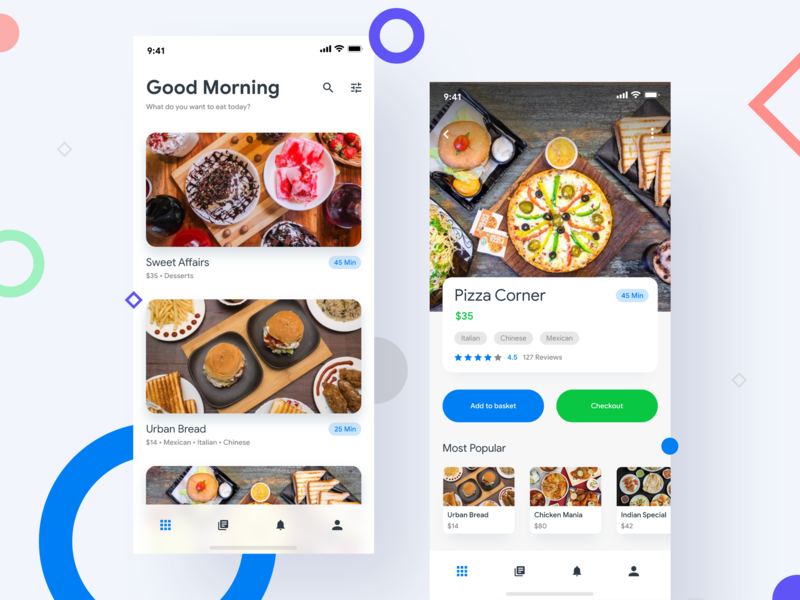 Food Delivery - App UI food and beverage adobe xd sketch shopping restaurant ux ui mobile list basket cart android ios order food app