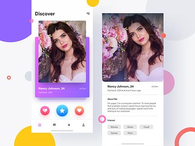 Dating - App UI cards app ui ux ui sketch mobile message app invite friends friend finder flirt dribbble dating app date clean chat adobe xd