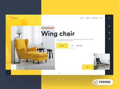 FREEBIE - Furniture Web UI prateek christmas download free freebie app design webui website design web ux ui typography minimal landing page header furniture colorful clean