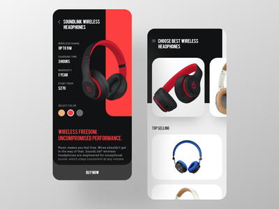 Headphones shop mobile app ios design speaker clean modern minimal application appui ux ui gadgets shopping shop headphone