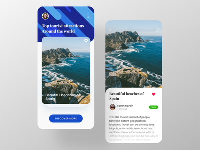 Travel blog app ux ui travel blog travel app travel tour search places modern mobile app ios finder clean card blog beach appui