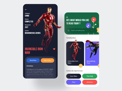 Online Comics Store prateek superheros color palette app ui ecommerce order online reading app ebook book iron man marvel comics comics ios clean landing page website design ux ui