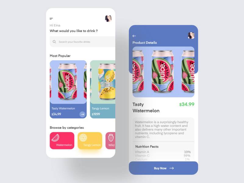 Juice Store online store online beverages drink fruit buy cart shopping app ui ios minimal clean app design ux ui shop juice