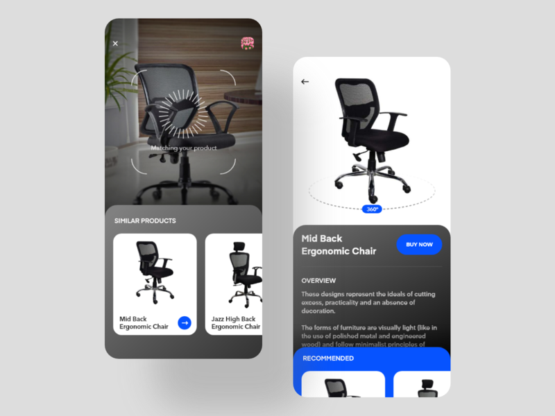Product Search and Shop dark furniture store chair ecommerce shop 360 degree augmented reality modern app ui search camera product clean app minimal design ux ui
