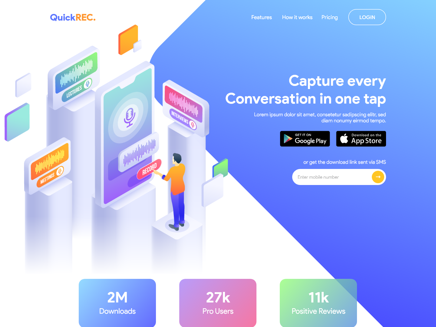 Voice Notes App Landing page by Prateek Gupta on Dribbble
