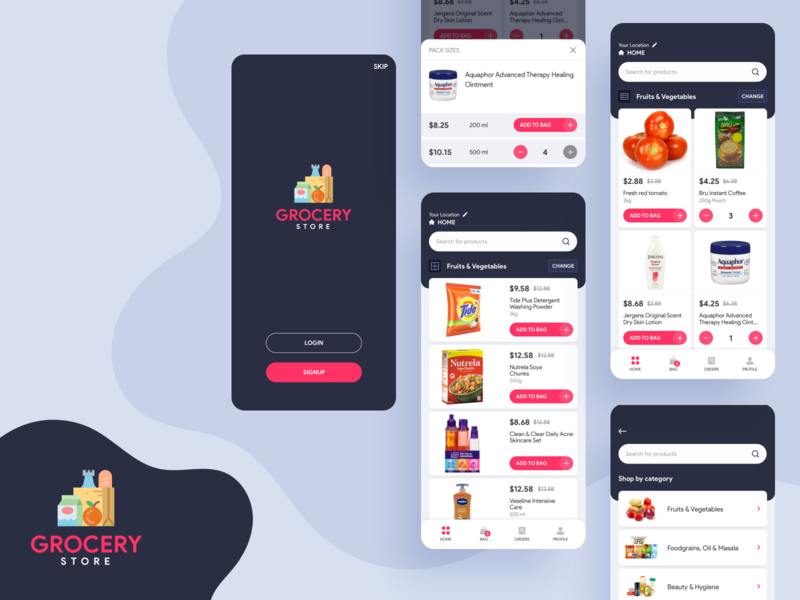 Grocery App UI Screens online shopping grocery online store vegetables colors iphone application appui ecommerce grocery minimal branding app clean design ux ui