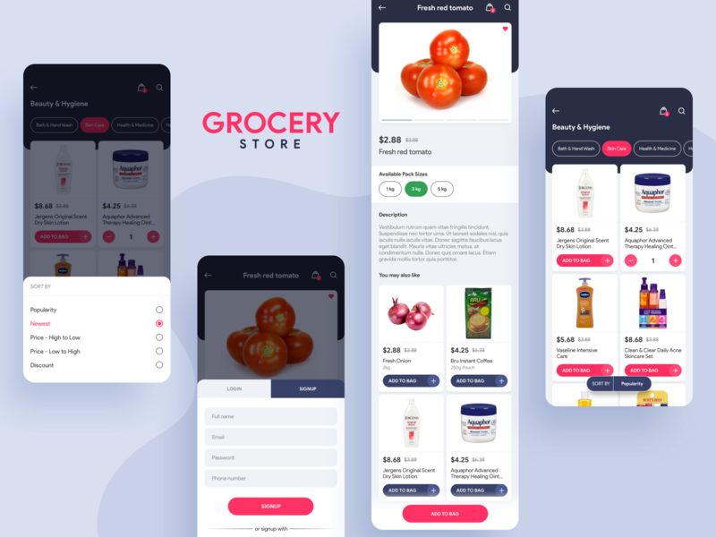 Grocery App UI Screens vegetables ux ui store shopping online minimal iphone grocery ecommerce design colors clean branding appui application app