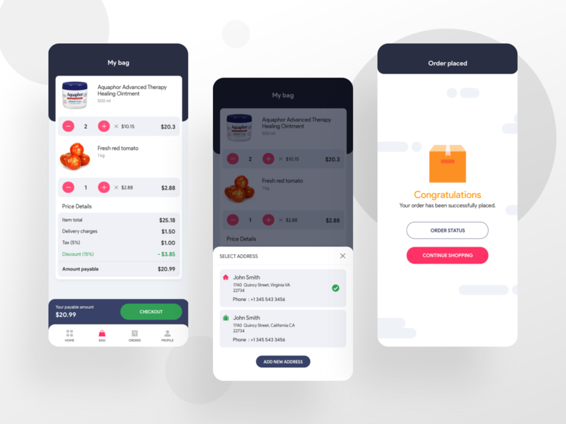 Order Placed vegetable ux ui store shopping online minimal iphone grocery ecommerce design colors clean branding appui application app