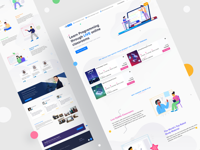 Learn Programming Online case study prateek website web ux ui squareboat online minimal learning landing page iot illustration header development design course coding class android app