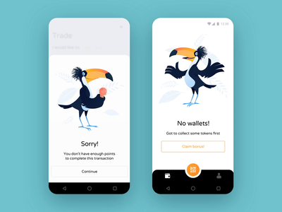 ToucanWallet UI feedback mobile application illustration design product business app interface ux ui