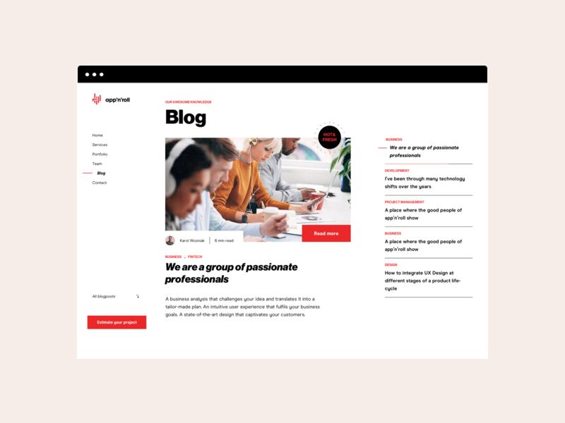 App'n'roll — Blog clean branding interface software business headline navigation swiss typography layout ui ux blog www website
