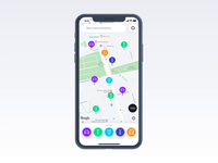 Vooom App – Map principle startup business aftereffects animation design ios filters map product app interface ux ui