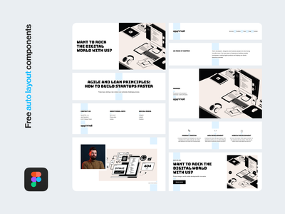 Free Figma autolayout components typography website interface clean product download free webdesign freebie figma component ux ui