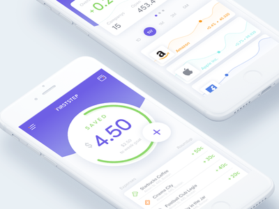 Firststep App application startup wallet modern money business clean ios app interface ux ui
