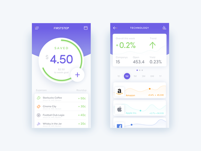Firststep App Animation ui ux interface app ios clean business money animation wallet startup application