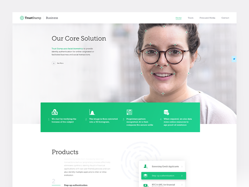 TrustStamp Business Website ux ui web homepage landing business clean typography product white bright