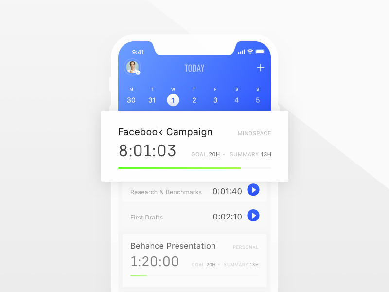 Timetracker App interface ui ux blue productivity timetracker time application app apple iphonex ios