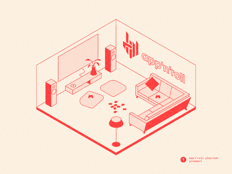 App'n'roll design day paper perspective room lines texture ui linear vector software interior isometric illustration