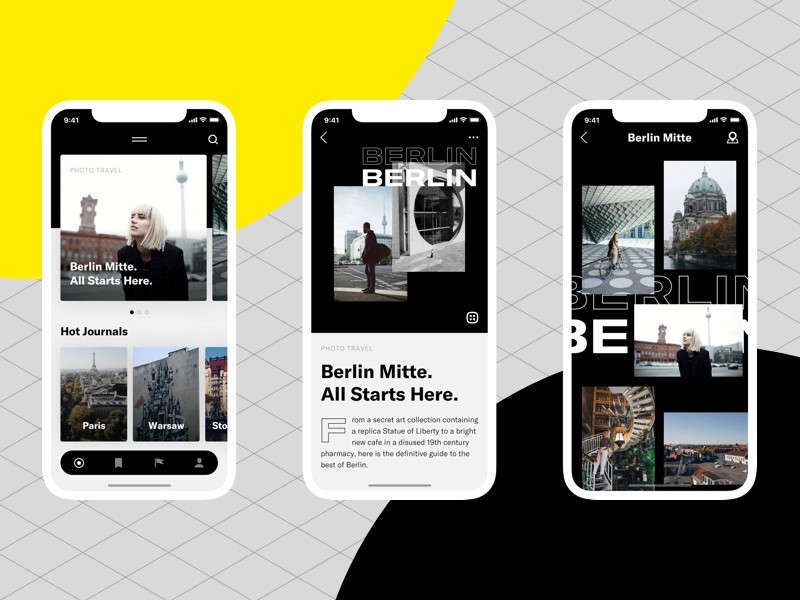 City Journal App photos gallery travel iphonex simple raw styleguide ux ui app