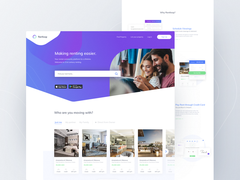 Rentloop Landing Page for Tenants landing design illustration page landing ui ux app business interface clean product real estate application website