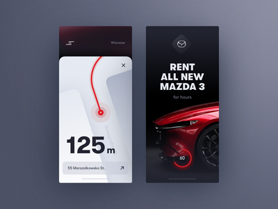 Mazda Rent Concept illustration typography map clean business car mobile app experience interface ui ux