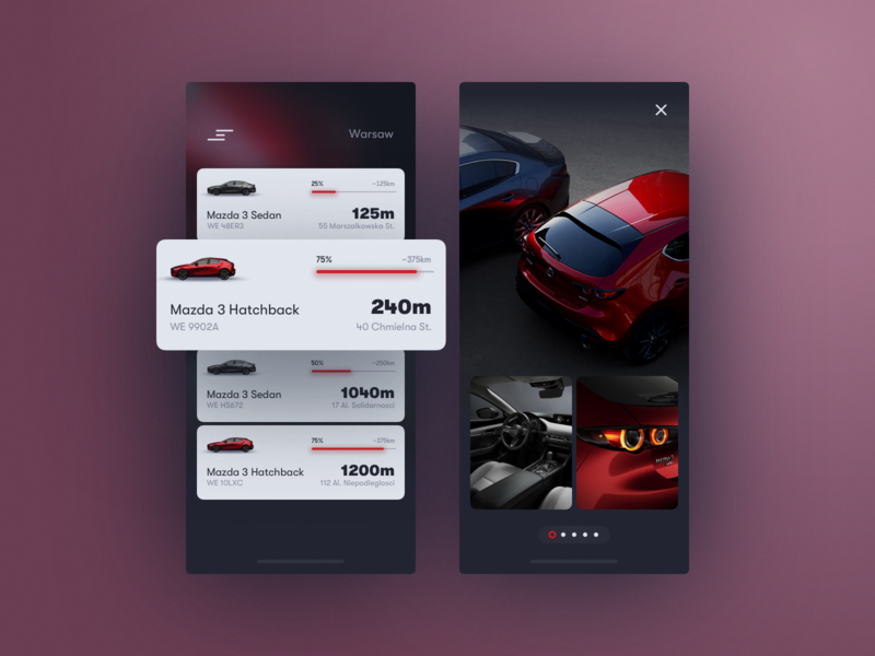 Mazda Rent Concept ux ui interface experience app mobile car business clean map typography illustration