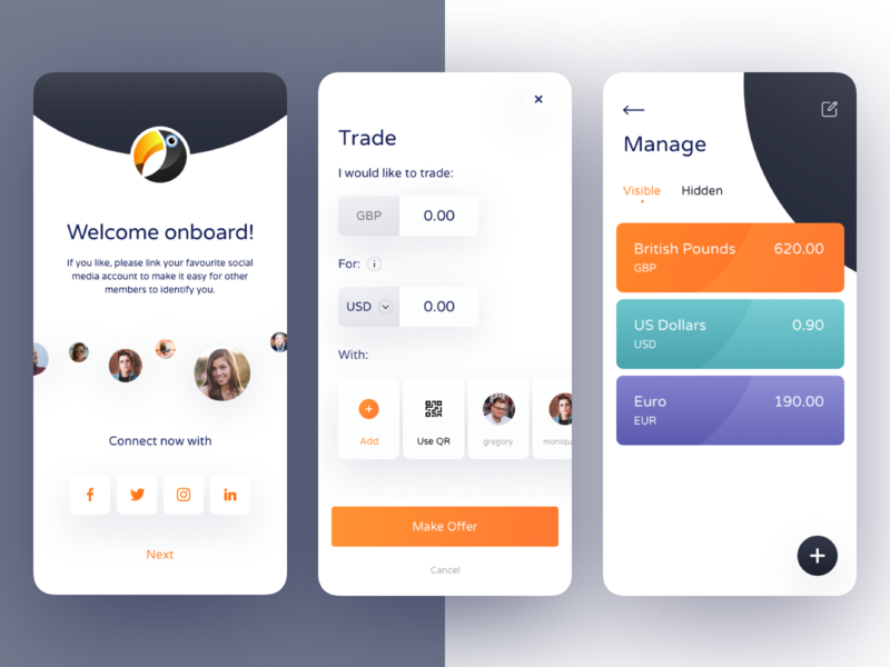 ToucanPay App business design mobile android onboarding currency wallet blockchan finance app ui ux
