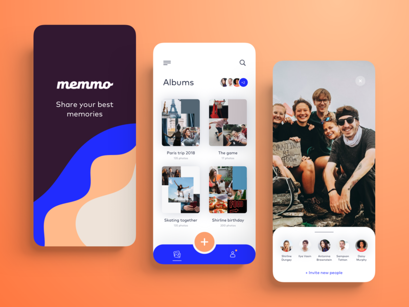 Memmo App typography illustration iphonex clean people design business mobile application product interface app ux ui