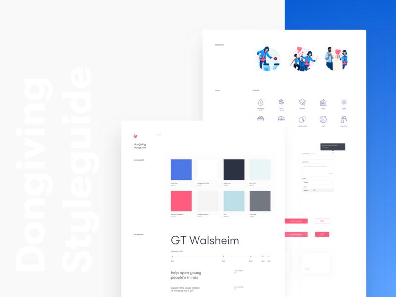 Dongiving • Styleguide illustration application clean app design website ui kit design system product interface ux ui
