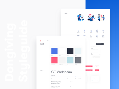 Dongiving • Styleguide illustration application clean app design website ui kit design system product interface ux ui