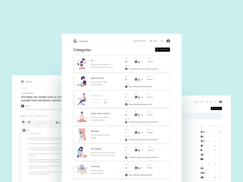 Mudita.com – Community forum typography website product community discussion ux clean forum illustration design interface ui