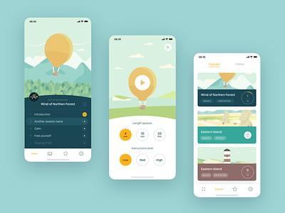 Ease App typography minimal headspace illustration clean ios mobile minimalism mindfullness meditation product app interface ui ux