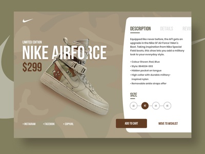 Nike Airforce - Product detail page