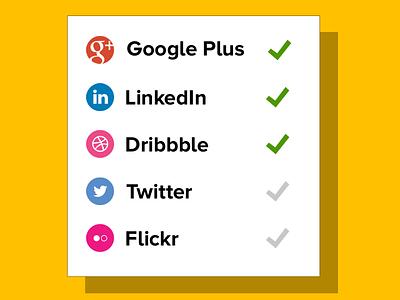 Social Report Card social networks card yellow flat fat