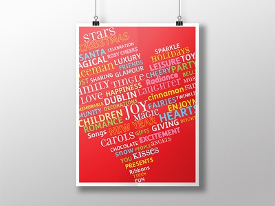 Poster Typographic Illustration typography illustration heart christmas poster words red colours flyer