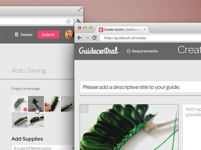 Create Guide Web App, Guidecentral web app forms supplies thumbnails header create interaction website pink grey white