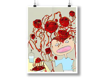 Mom! I don't like meatballs meat balls food illustration kids children tomato poster flyer line drawing